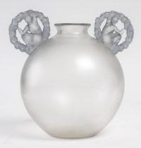 Vase « Ronsard » verre blanc anses patiné bleu de René LALIQUE