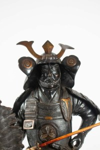 Important Bronze Sculpture, Samurai, Japan, 1925, Onyx Base, Removable