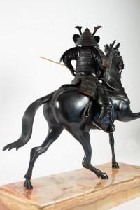 Importante Sculpture En Bronze, Samouraï, Japon, 1925, Socle En Onyx, Démontable