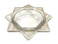 """Cendrier """"Fauvettes"""" verre blanc patiné sépia de René LALIQUE"""