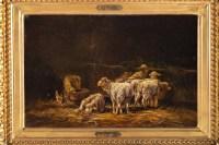 """Tableau """"L'étable"""" huile sur toile signée Charles JACQUE"""