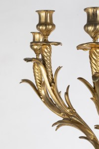 A Pair of French 19th Century Ormulu and Green Marble Candelabras.
