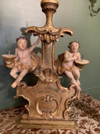 Paire de candélabres en bois polychrome. Italie XVII ème siècle.