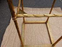 1950/70' Paire de Bouts de Canapés  en Bronze Doré Décor Palmier Maison Charles 35 X 35 cm