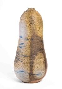"""Horst Kerstan - Grand vase de forme """"coloquinte"""" en grès cuisson four à bois. Vers 1980"""