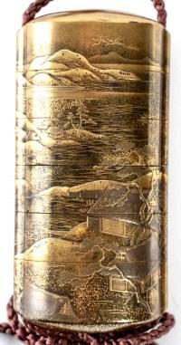 Inro à 5 cases en laque d'or par Kakosai Shozan 19ème siècle
