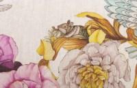 Ensemble Plaid et Coussin en lin à décor de Fleurs et d'Animaux