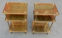 1950/70' Paire de Sellettes ou Bouts de Canapés Plateaux Plaqués à la Feuille d'Or, Maison Bagués, 30 X 38,5 cm