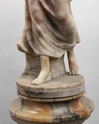 An Italian 19th Century Orientalist Alabaster Lamp Sculpture  Attributed to Gugliemo Pugi (1850-1915).