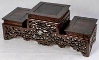 Présentoir Chinois en Bois Dur à Triple Évolution, 19ème siècle