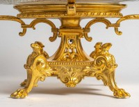 Grande coupe centre de table baccarat monture bronze en dorée style Louis XV