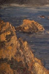 Paysage de Falaises, XXème Siècle. Peinture sur carton, encadréée Evelyne Luez, école de Paris.