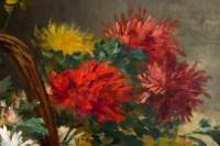 Chrysanthèmes dans un panier.