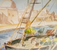 Dessin sur papier sous verre, encadré, signé Luez, XXème siècle. Vue d'un Port Oriental.