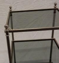 1970' Bout de canapé carré Maison Bagues 3 plateaux avec vitres teintées bleuté 32 X 32 cm