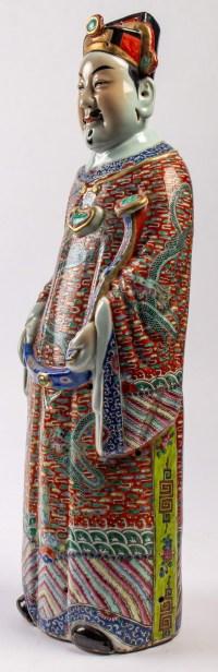 Très grande figure chinoise de Fu, le Sanxing de la Chance et du Bonheur, période Guangxu/République