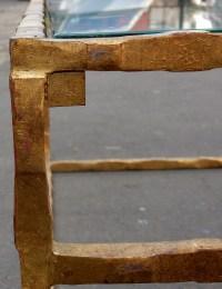 1970' Table Basse en Fer Forgé Decor Végétal Dorée Feuilles d Or 130 X 130 cm
