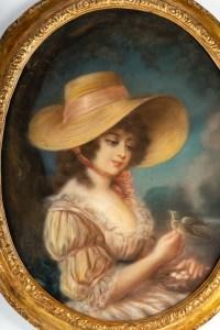 Beau Pastel époque XVIIIème siècle