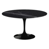 "Saarinen & Knoll International - table ""tulipe"", marbre marquina and Rilsan noir"