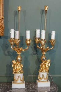 Paire De Candélabres De Style Louis XVI Formant Lampes. XIX ème.