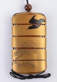 inro à 4 cases en laque d'or signé Kajikawa