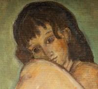 Femme Nue, huile sur toile, XX siècle.