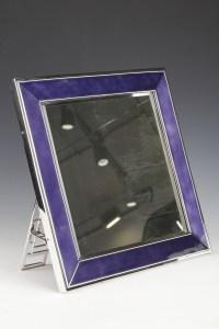 Table mirror in solid silver and blue enamel twentieth