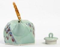 René Le Denmat - Théière et vase en porcelaine à couverte céladon