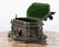 A Charming 19th Century Patinated Bronze Jewelry Box By Jules Moigniez (1835-1894)