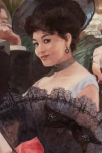 """""""La Dame à l'éventail"""", huile sur toile signée Léon Zeytline (1885-1962)"""