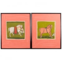 Pair Of Gouaches On Paper, Horsemen And Horses, North India, Late 19th Century