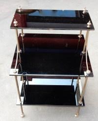 1950/70' Etagère à 3 Niveaux en Laiton et Opaline Noire en Escalier Maison Bagués
