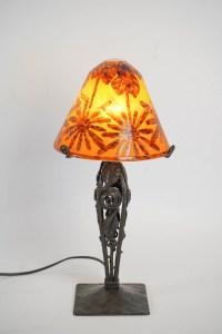 Lampe rare aux cocotiers signée Charder sur un pied enfer forgé 1925-1930