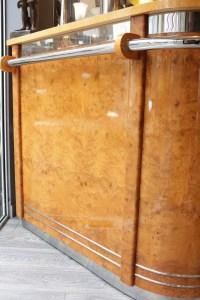 Bar d' appartement loupe d' amboine et chrome
