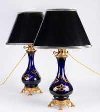 Paire de Lampes bleues et or Napoléon III