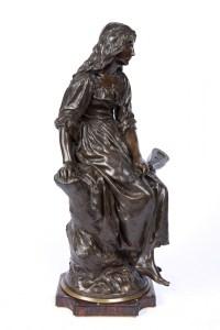 """A French Late 19th Century Bronze """"La Joueuse à La Mandoline"""" by Paul Eugène Mengin (1853-1937)"""