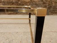 1970′ Table Basse en Métal Laqué Noir Pierre Vandel 128 X 78 cm