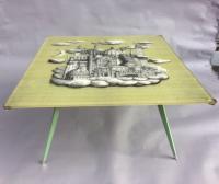 Panneau en plexiglass de Piero Fornasetti monté en table basse, 1970's