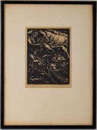 Engraving, Signed, 1928, Representative Stylized Horses Running, Framed