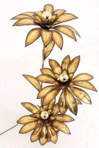 Maison Jansen, Lampe fleur en laiton doré, années 1970