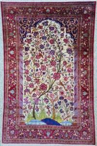 Tapis Kashan Dabir En Soie Qualité Extra Fin - Iran Vers 1920