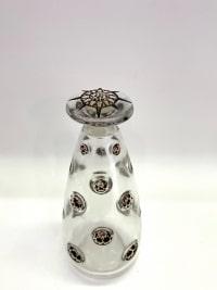 """Flacon """"Fleurs Concaves"""" verre blanc patiné noir de René Lalique"""