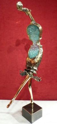 NOWACZYK Sculpture bronze laiton verre pilé Danseuse
