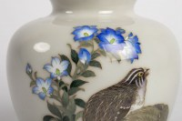 Vase cloisonné japonais avec un liseré en argent époque Showa signé Tamura