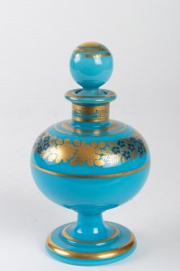 Flacon à parfum en opaline bleu turquoise 19e siècle