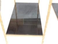1970′ Paire de Bouts de Canapés en Bronze Doré Montants Décor Palmier Maison Charles 60 X 35 cm