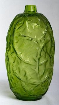 """Vase """"Ronces"""" verre vert absinthe de René LALIQUE"""