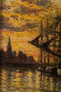 """Tableau de Marine """"Coucher de soleil sur le port"""" signé Charles MOOTZ"""