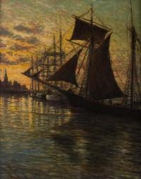 Tableau Marine coucher de soleil sur le port signé Charles MOOTZ