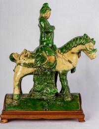 Tuile faîtière sancaï représentant Guandi à cheval, dynastie Ming, 17e siècle